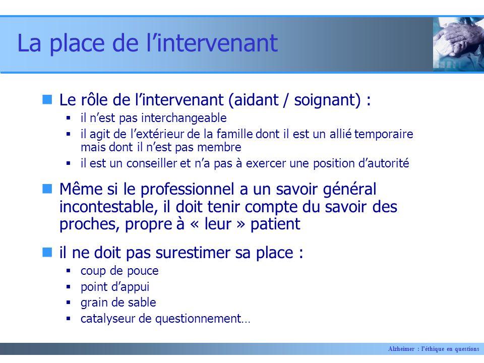 Alzheimer : léthique en questions La place de lintervenant Le rôle de lintervenant (aidant / soignant) : il nest pas interchangeable il agit de lextér