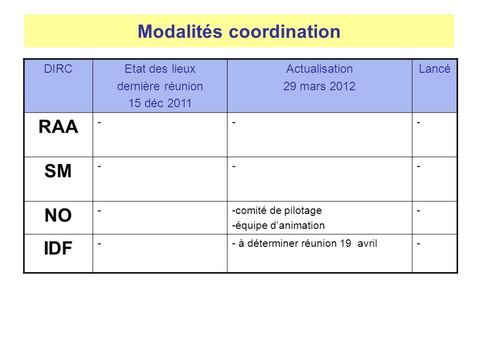 DIRCEtat des lieux dernière réunion 15 déc 2011 Actualisation 29 mars 2012 Lancé RAA --- SM --- NO --comité de pilotage -équipe danimation - IDF -- à déterminer réunion 19 avril- Modalités coordination