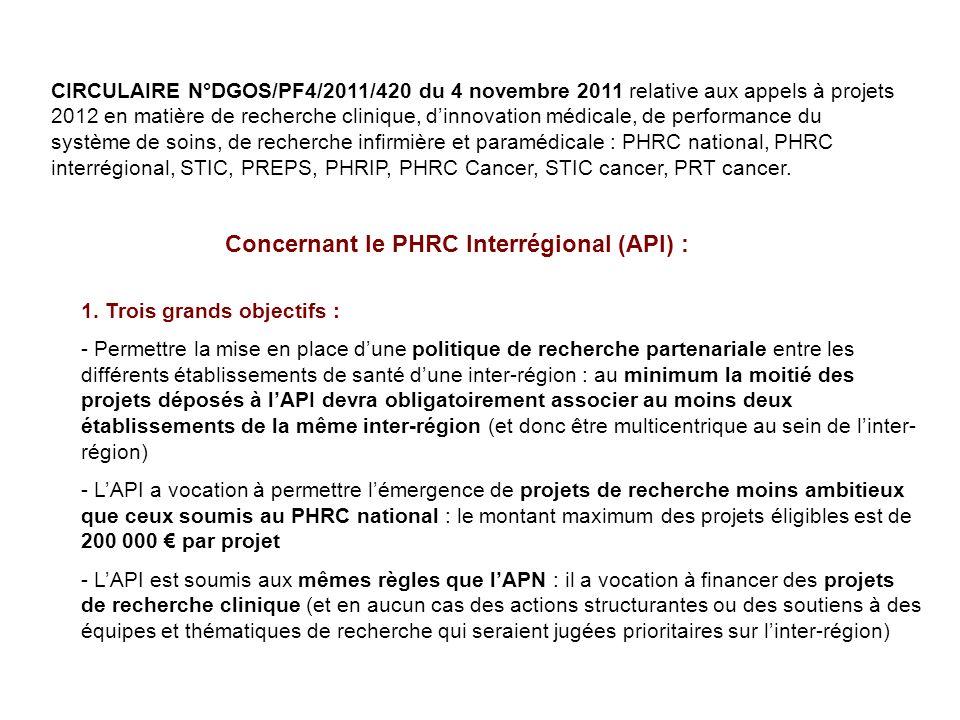 CIRCULAIRE N°DGOS/PF4/2011/420 du 4 novembre 2011 relative aux appels à projets 2012 en matière de recherche clinique, dinnovation médicale, de performance du système de soins, de recherche infirmière et paramédicale : PHRC national, PHRC interrégional, STIC, PREPS, PHRIP, PHRC Cancer, STIC cancer, PRT cancer.