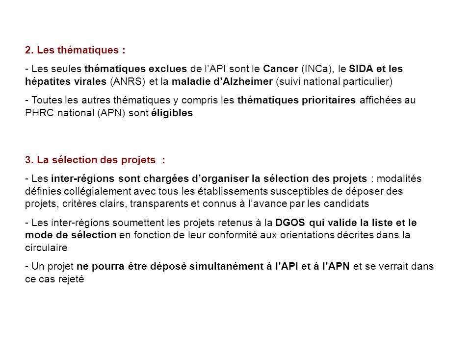 2. Les thématiques : - Les seules thématiques exclues de lAPI sont le Cancer (INCa), le SIDA et les hépatites virales (ANRS) et la maladie dAlzheimer