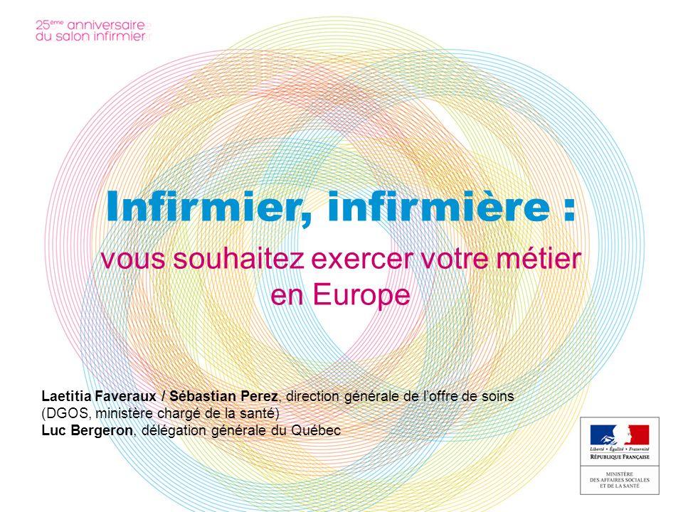 Infirmier, infirmière : vous souhaitez exercer votre métier en Europe Laetitia Faveraux / Sébastian Perez, direction générale de loffre de soins (DGOS