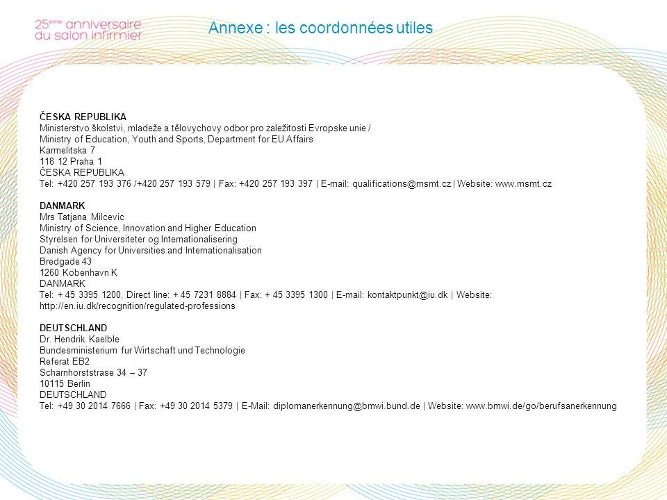Annexe : les coordonnées utiles ČESKA REPUBLIKA Ministerstvo školstvi, mladeže a tělovychovy odbor pro zaležitosti Evropske unie / Ministry of Educati