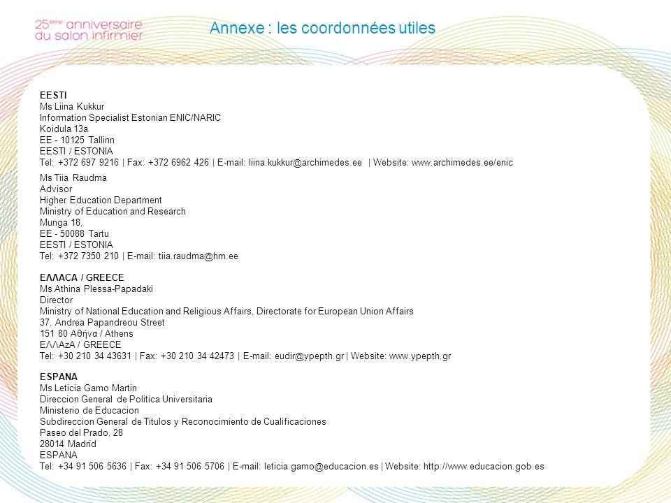 Annexe : les coordonnées utiles EESTI Ms Liina Kukkur Information Specialist Estonian ENIC/NARIC Koidula 13a EE - 10125 Tallinn EESTI / ESTONIA Tel: +