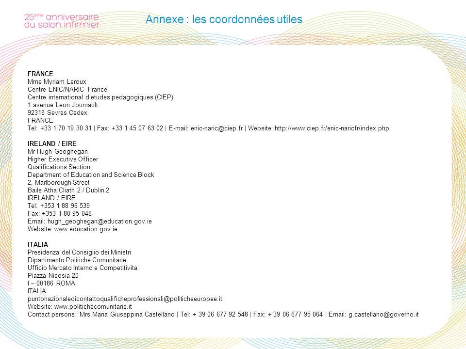 Annexe : les coordonnées utiles FRANCE Mme Myriam Leroux Centre ENIC/NARIC France Centre international detudes pedagogiques (CIEP) 1 avenue Leon Journ