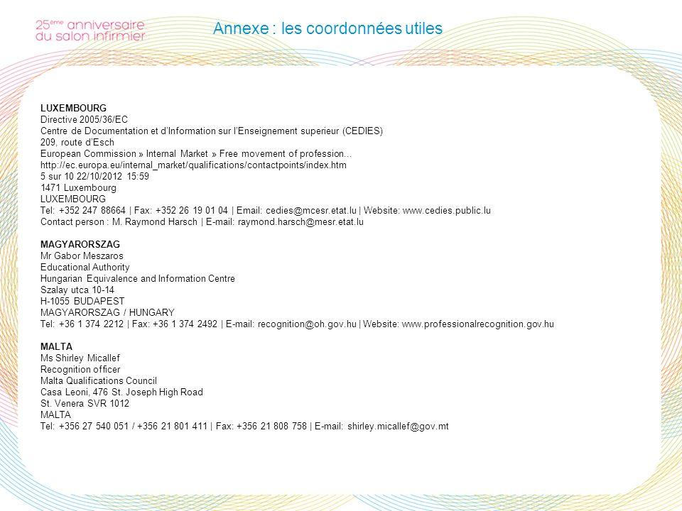 Annexe : les coordonnées utiles LUXEMBOURG Directive 2005/36/EC Centre de Documentation et dInformation sur lEnseignement superieur (CEDIES) 209, rout