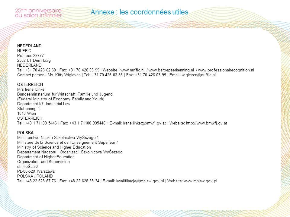 Annexe : les coordonnées utiles NEDERLAND NUFFIC Postbus 29777 2502 LT Den Haag NEDERLAND Tel: +31 70 426 02 60 | Fax: +31 70 426 03 99 | Website : ww