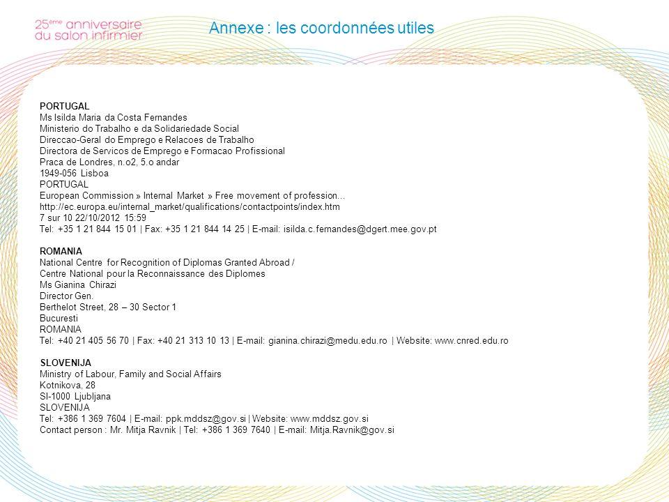 Annexe : les coordonnées utiles PORTUGAL Ms Isilda Maria da Costa Fernandes Ministerio do Trabalho e da Solidariedade Social Direccao-Geral do Emprego