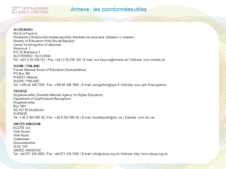 Annexe : les coordonnées utiles SLOVENSKO Mrs Eva Frayova Ministerstvo školstva Slovenskej republiky Stredisko na uznavanie dokladov o vzdelani / Mini