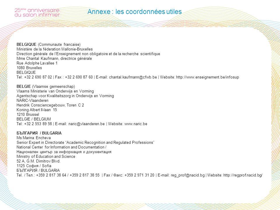 Annexe : les coordonnées utiles BELGIQUE (Communaute francaise) Ministère de la féderation Wallonie-Bruxelles Direction générale de lEnseignement non