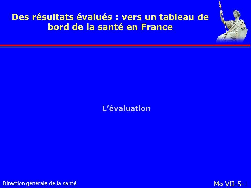 Direction générale de la santé Mo VII-5-1 Des résultats évalués : vers un tableau de bord de la santé en France Lévaluation