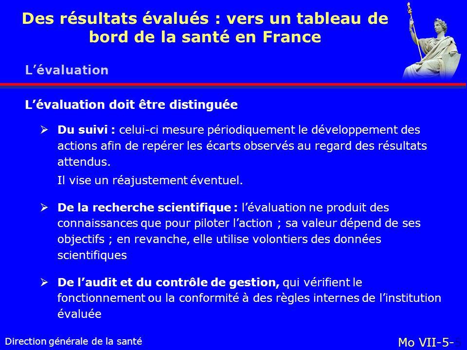 Direction générale de la santé Mo VII-5-5 Des résultats évalués : vers un tableau de bord de la santé en France Lévaluation Du suivi : celui-ci mesure périodiquement le développement des actions afin de repérer les écarts observés au regard des résultats attendus.