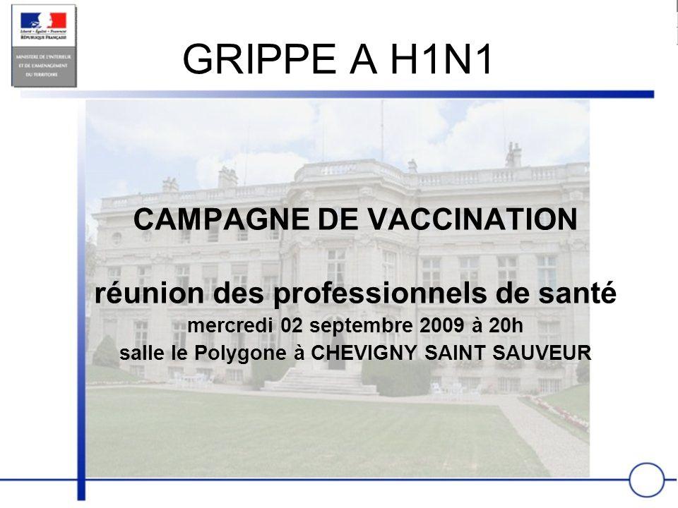 GRIPPE A H1N1 CAMPAGNE DE VACCINATION réunion des professionnels de santé mercredi 02 septembre 2009 à 20h salle le Polygone à CHEVIGNY SAINT SAUVEUR