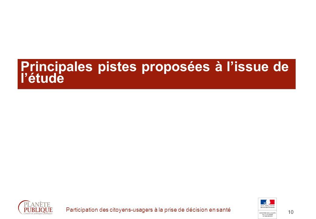 10 Participation des citoyens-usagers à la prise de décision en santé Principales pistes proposées à lissue de létude