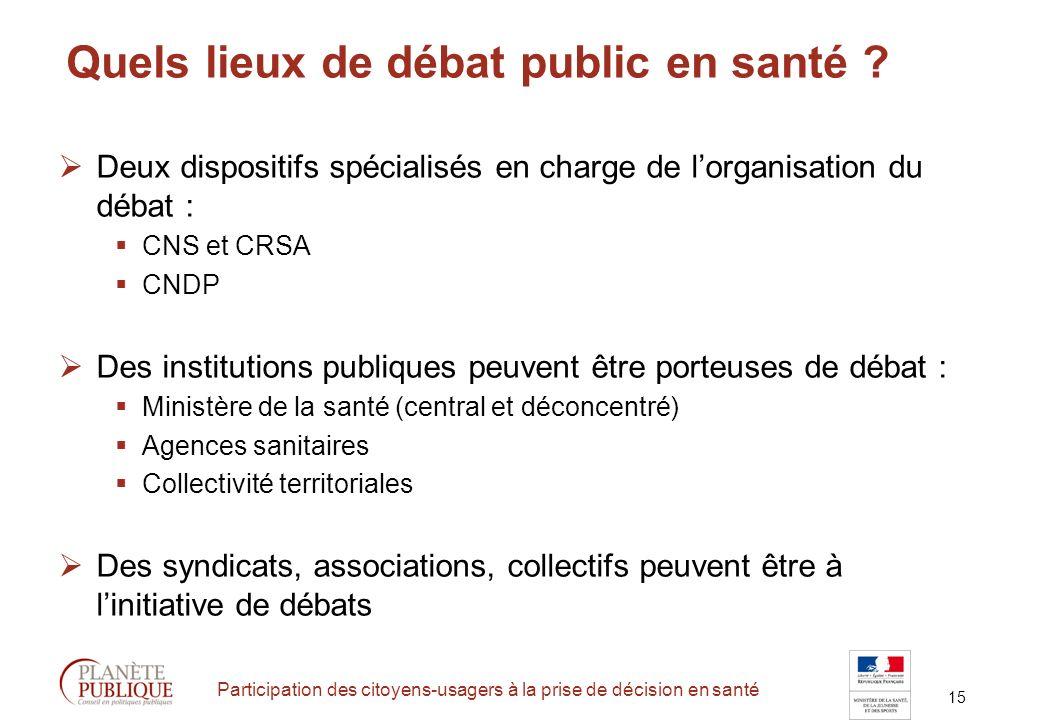 15 Participation des citoyens-usagers à la prise de décision en santé Quels lieux de débat public en santé .