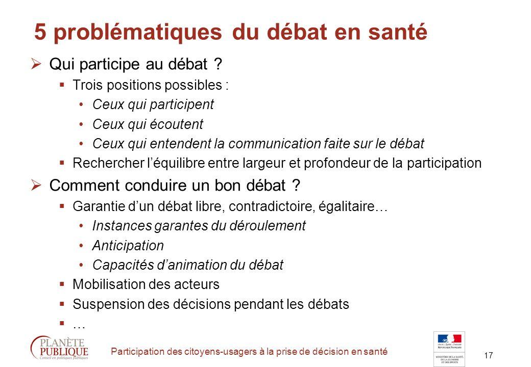 17 Participation des citoyens-usagers à la prise de décision en santé 5 problématiques du débat en santé Qui participe au débat .