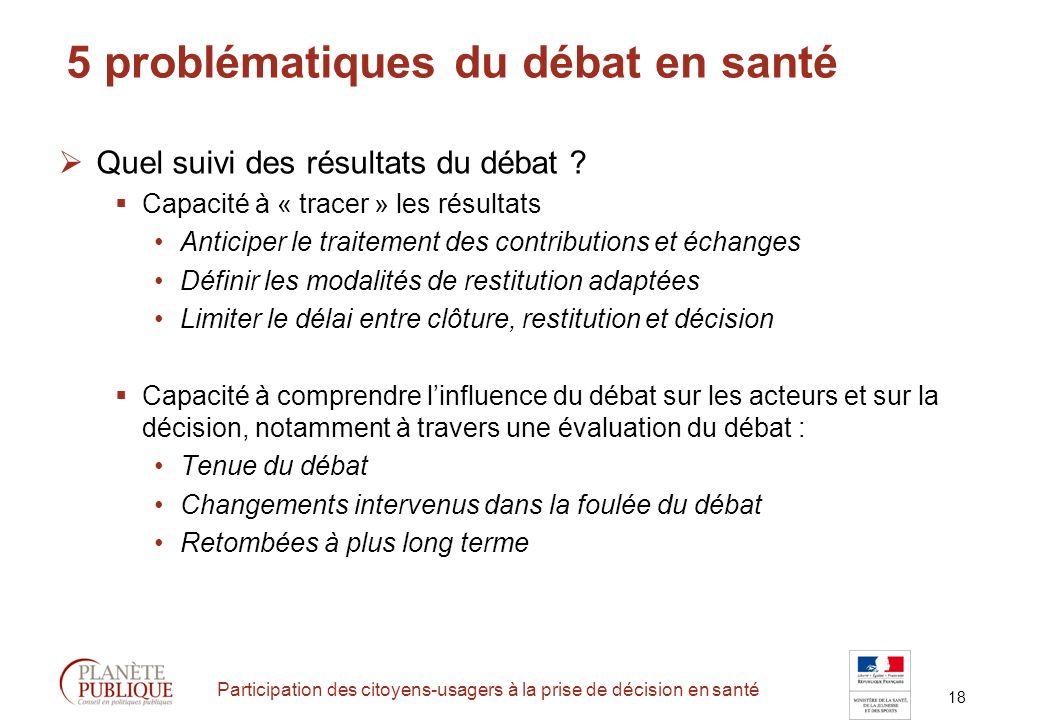 18 Participation des citoyens-usagers à la prise de décision en santé 5 problématiques du débat en santé Quel suivi des résultats du débat .