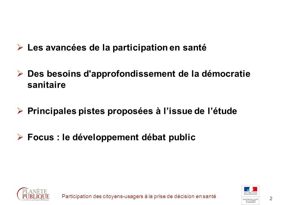 2 Participation des citoyens-usagers à la prise de décision en santé Les avancées de la participation en santé Des besoins d approfondissement de la démocratie sanitaire Principales pistes proposées à lissue de létude Focus : le développement débat public