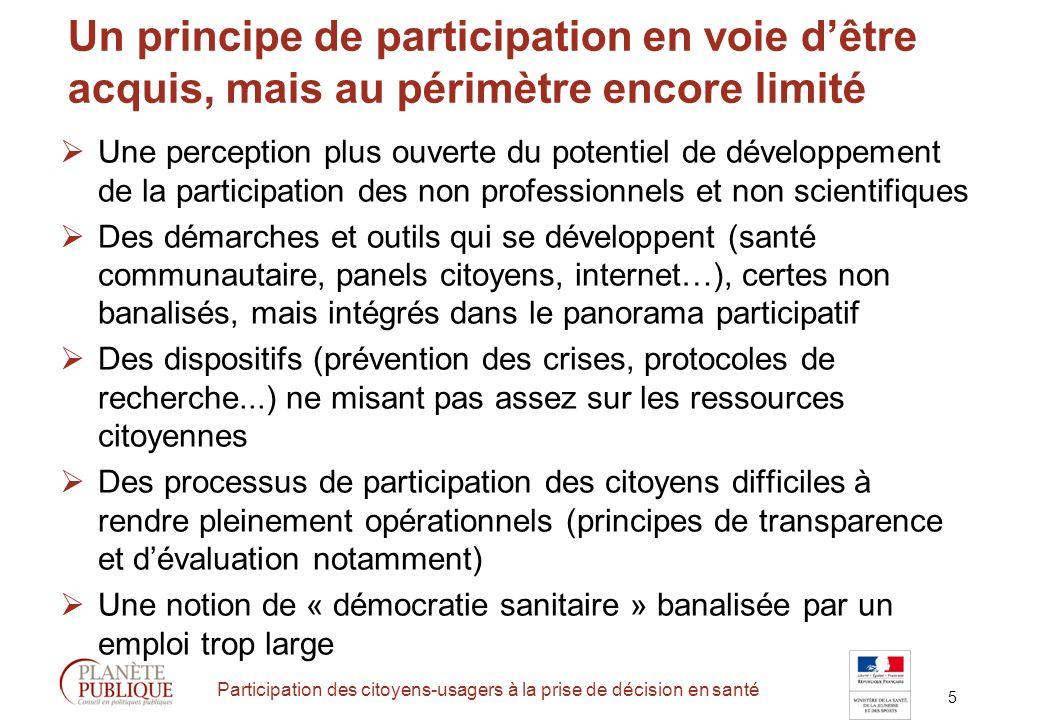 16 Participation des citoyens-usagers à la prise de décision en santé 5 problématiques du débat en santé Quels objectifs du débat .
