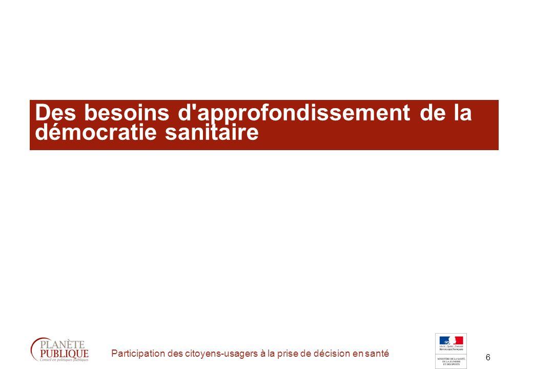 6 Participation des citoyens-usagers à la prise de décision en santé Des besoins d approfondissement de la démocratie sanitaire