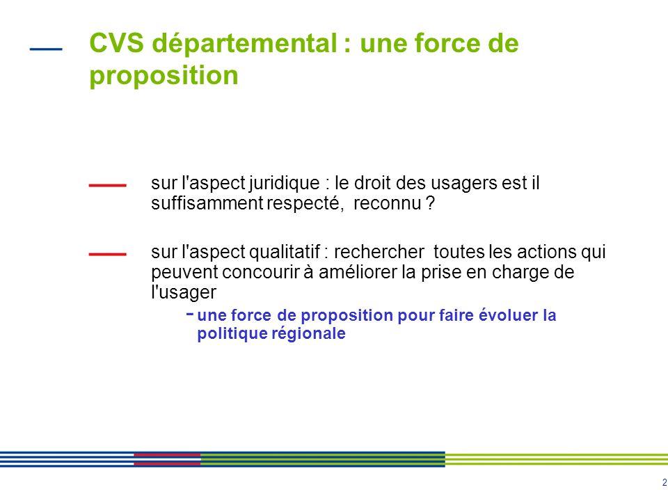 2 CVS départemental : une force de proposition sur l'aspect juridique : le droit des usagers est il suffisamment respecté, reconnu ? sur l'aspect qual