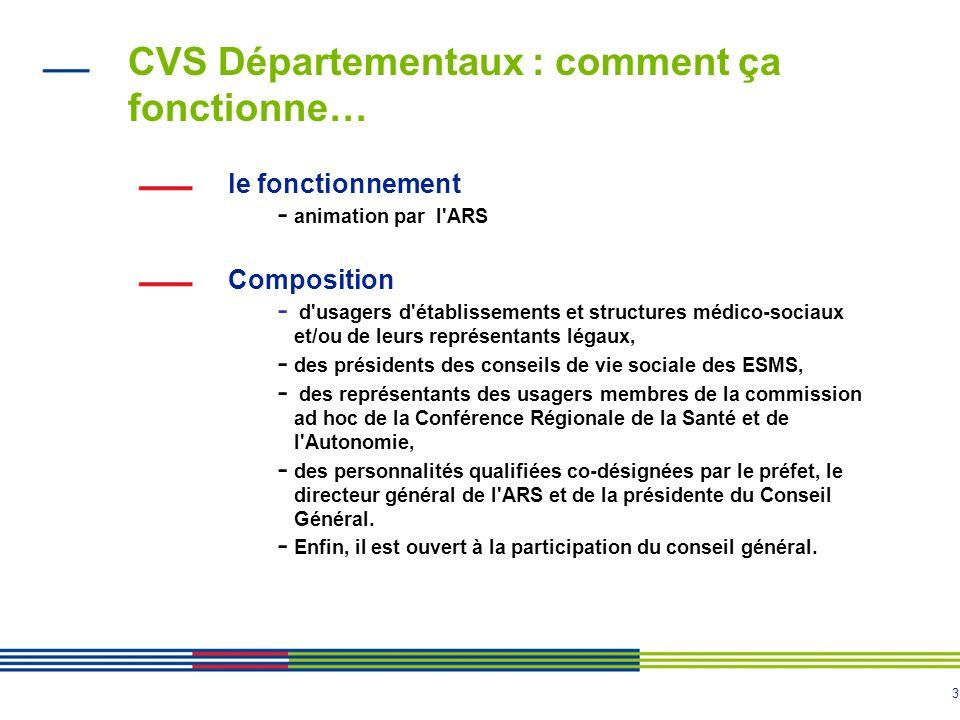 3 CVS Départementaux : comment ça fonctionne… le fonctionnement - animation par l'ARS Composition - d'usagers d'établissements et structures médico-so