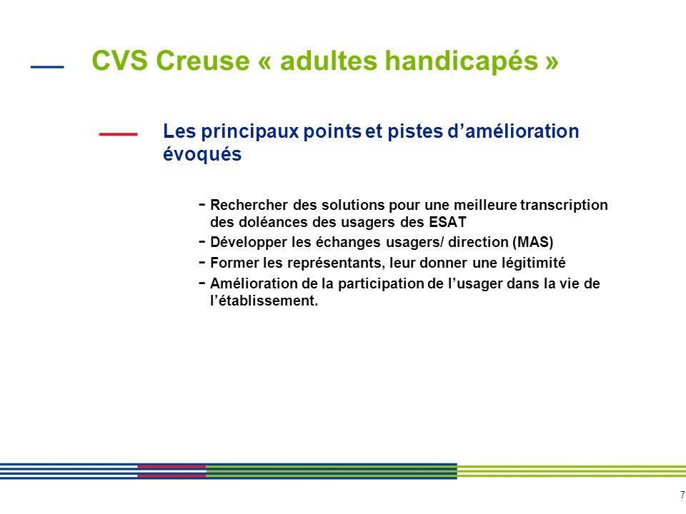 7 CVS Creuse « adultes handicapés » Les principaux points et pistes damélioration évoqués - Rechercher des solutions pour une meilleure transcription