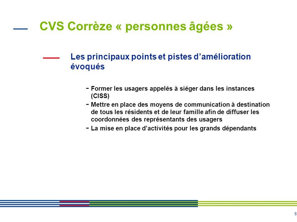 8 CVS Corrèze « personnes âgées » Les principaux points et pistes damélioration évoqués - Former les usagers appelés à siéger dans les instances (CISS