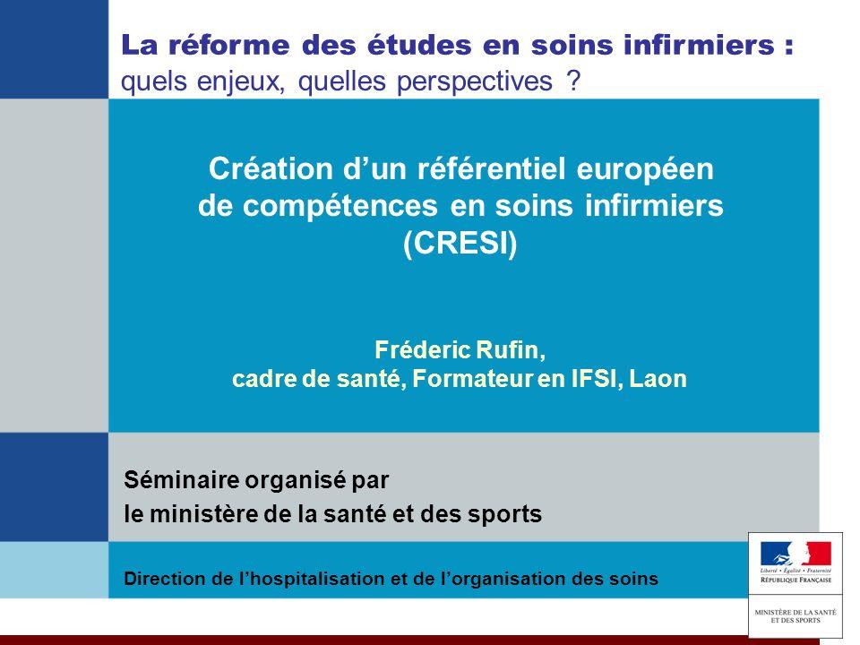 Projet Leonardo CRESI 8 06 2009 Création dun référentiel européen de compétences en soins infirmiers (CRESI) Direction de lhospitalisation et de lorga