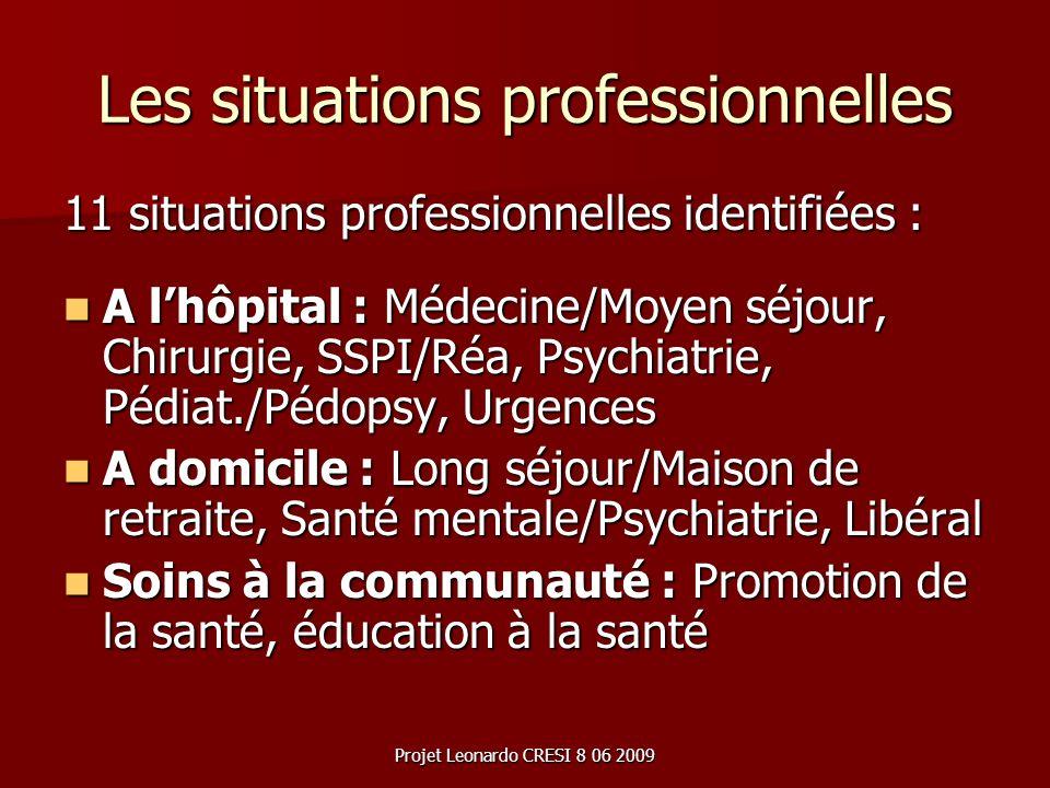 Projet Leonardo CRESI 8 06 2009 Les situations professionnelles 11 situations professionnelles identifiées : A lhôpital : Médecine/Moyen séjour, Chiru