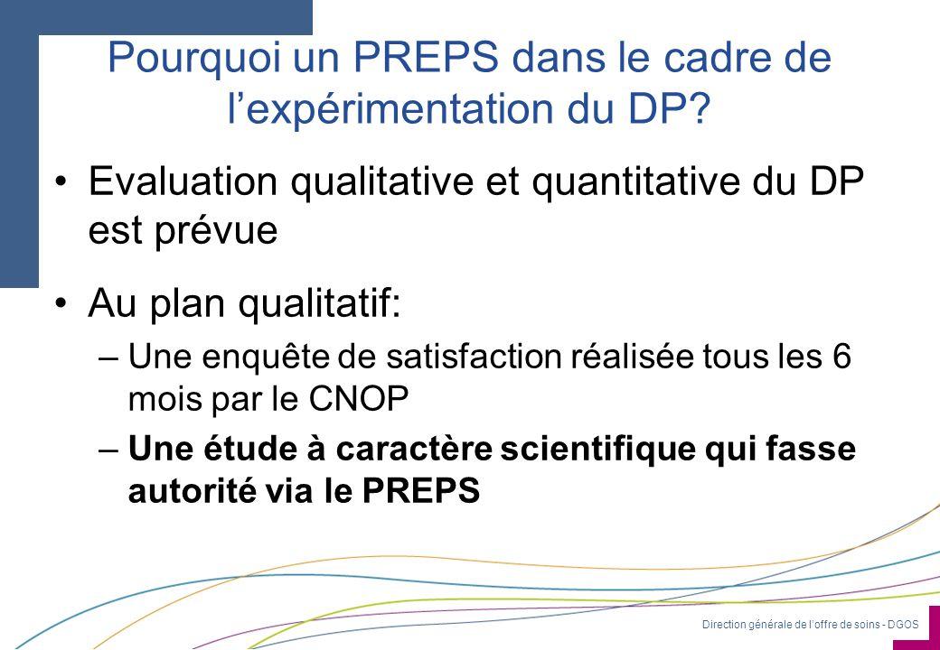 Direction générale de loffre de soins - DGOS Pourquoi un PREPS dans le cadre de lexpérimentation du DP? Evaluation qualitative et quantitative du DP e
