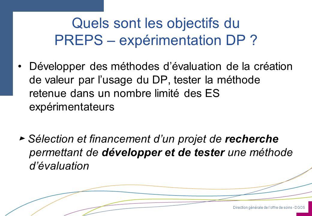 Direction générale de loffre de soins - DGOS Quels sont les objectifs du PREPS – expérimentation DP ? Développer des méthodes dévaluation de la créati