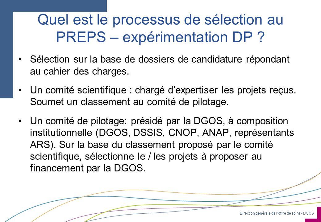 Direction générale de loffre de soins - DGOS Quel est le processus de sélection au PREPS – expérimentation DP ? Sélection sur la base de dossiers de c