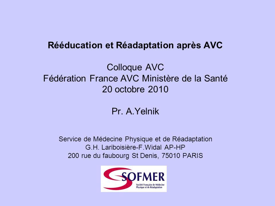 Rééducation et Réadaptation après AVC Colloque AVC Fédération France AVC Ministère de la Santé 20 octobre 2010 Pr. A.Yelnik Service de Médecine Physiq