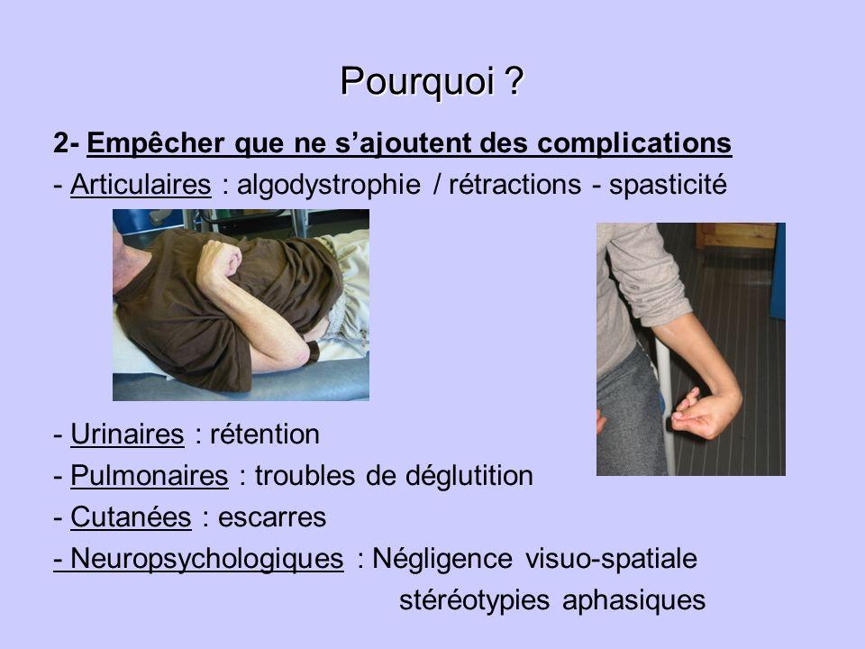 Pourquoi ? 2- Empêcher que ne sajoutent des complications - Articulaires : algodystrophie / rétractions - spasticité - Urinaires : rétention - Pulmona
