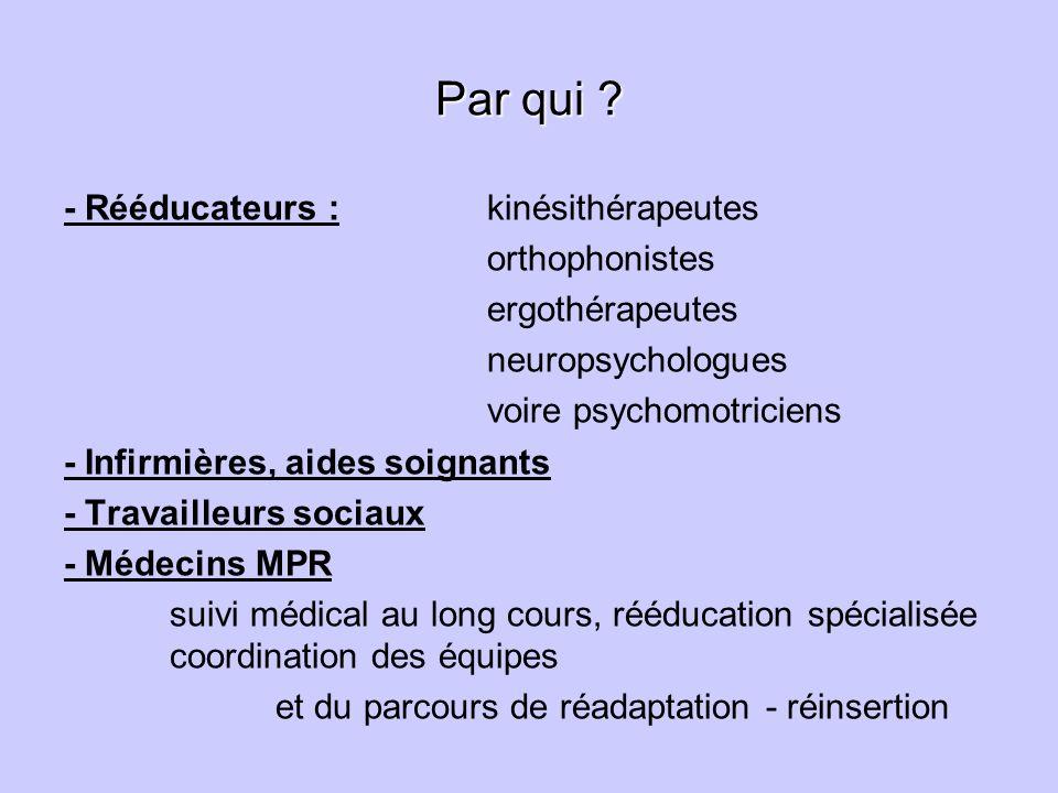 Par qui ? - Rééducateurs : kinésithérapeutes orthophonistes ergothérapeutes neuropsychologues voire psychomotriciens - Infirmières, aides soignants -