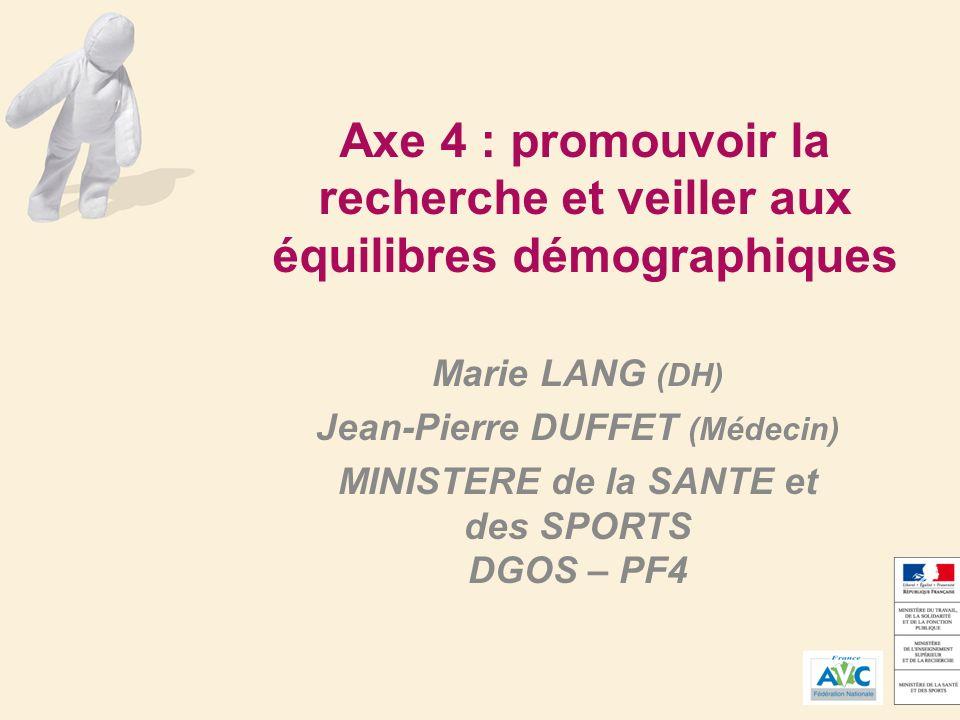 Axe 4 : promouvoir la recherche et veiller aux équilibres démographiques Marie LANG (DH) Jean-Pierre DUFFET (Médecin) MINISTERE de la SANTE et des SPORTS DGOS – PF4