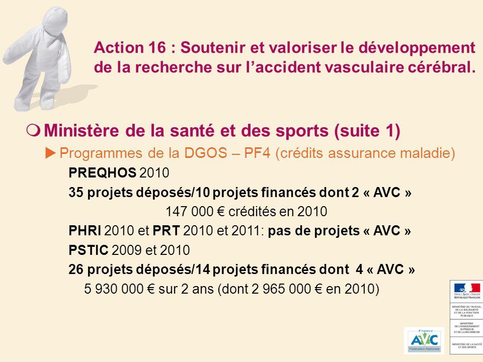 Action 16 : Soutenir et valoriser le développement de la recherche sur laccident vasculaire cérébral.