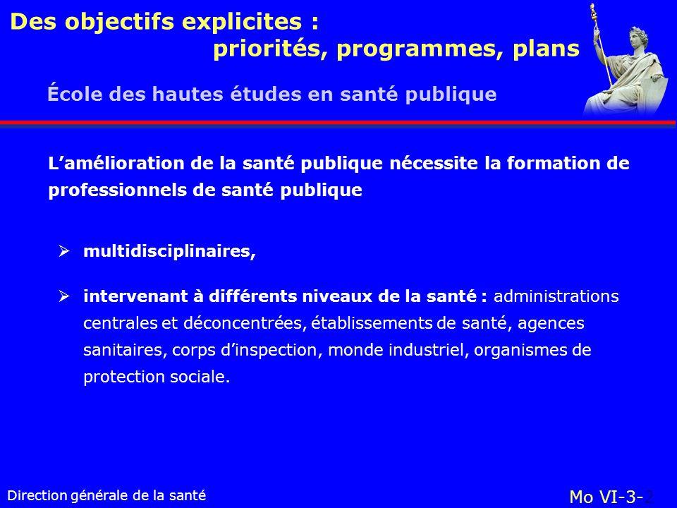 Direction générale de la santé École des hautes études en santé publique Mo VI-3-2 Des objectifs explicites : priorités, programmes, plans multidiscip