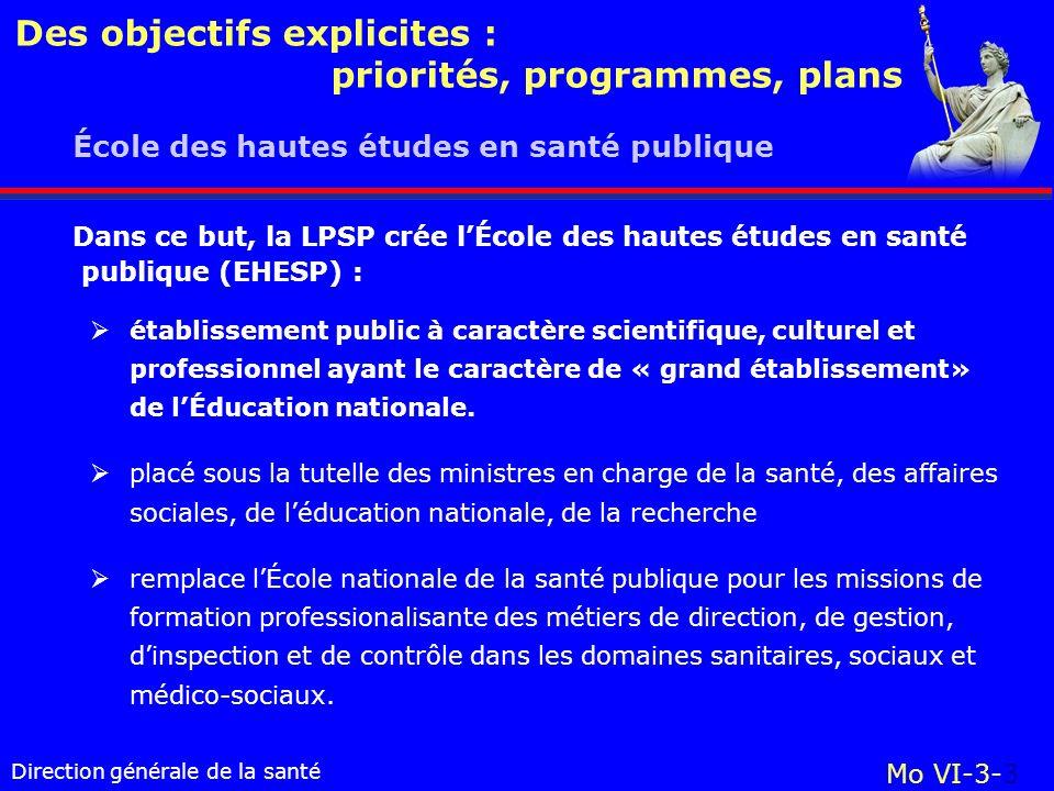 Direction générale de la santé École des hautes études en santé publique Mo VI-3-3 Des objectifs explicites : priorités, programmes, plans établisseme