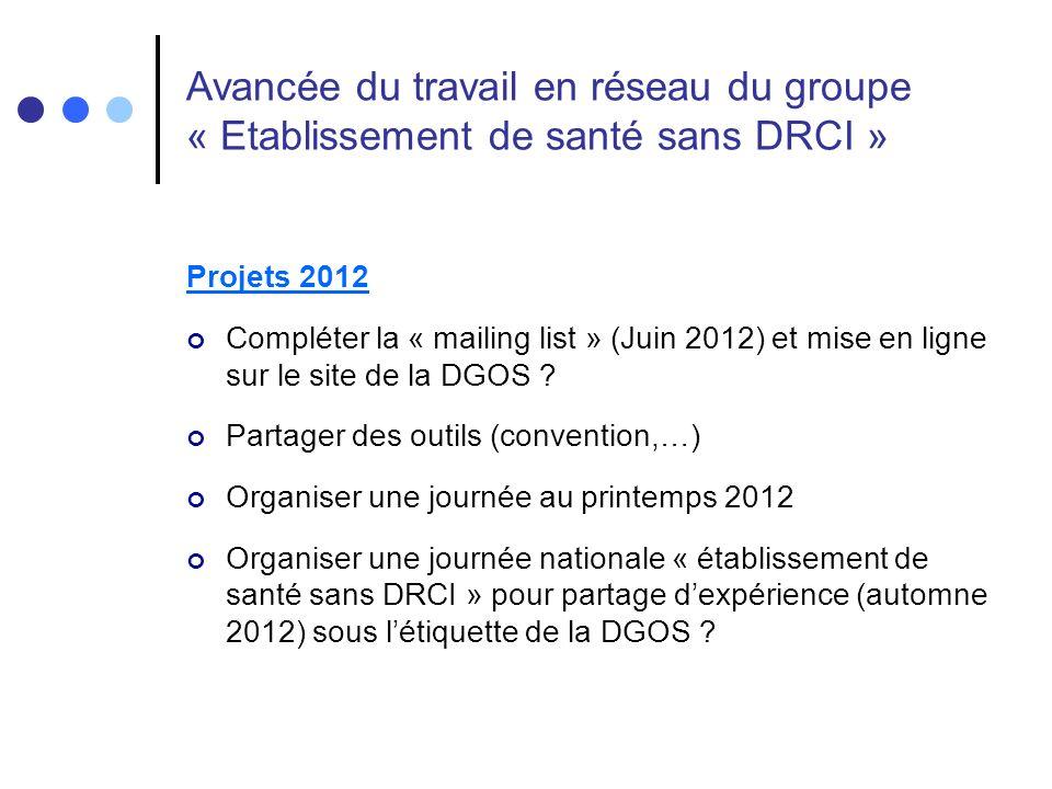 Projets 2012 Compléter la « mailing list » (Juin 2012) et mise en ligne sur le site de la DGOS .