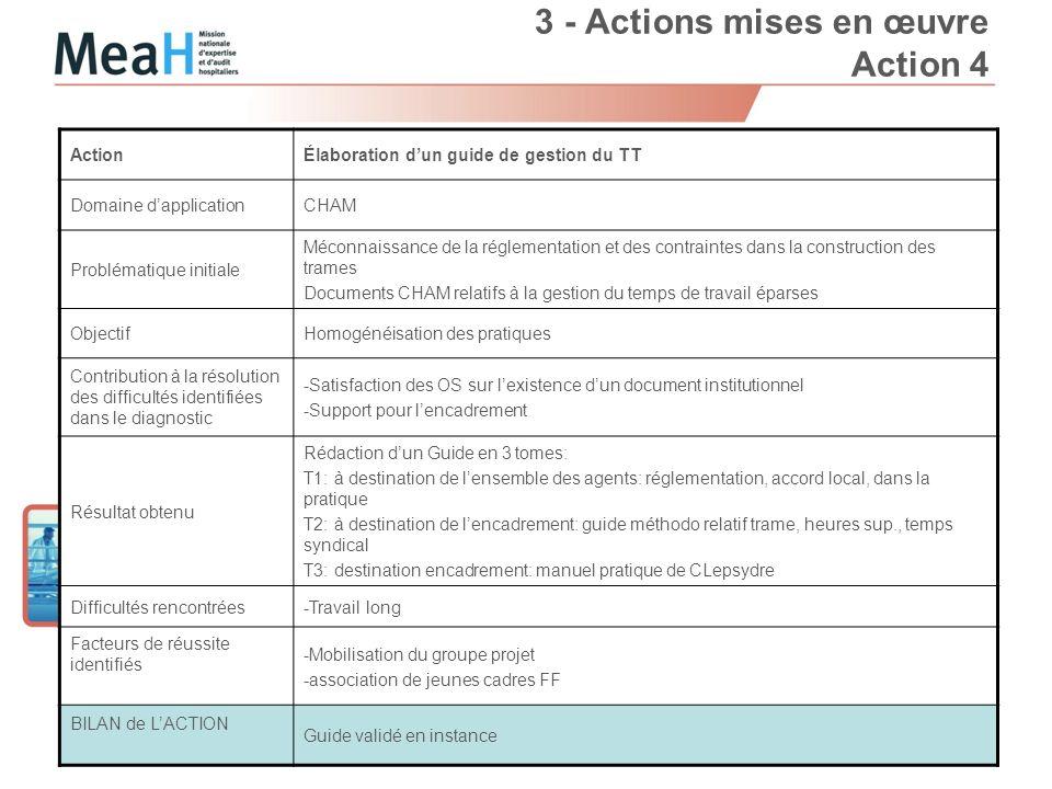 3 - Actions mises en œuvre Action 4 Page 9 ActionÉlaboration dun guide de gestion du TT Domaine dapplicationCHAM Problématique initiale Méconnaissance