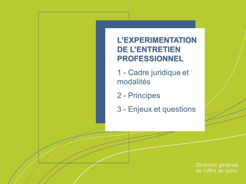 Direction générale de loffre de soins LEXPERIMENTATION DE LENTRETIEN PROFESSIONNEL 1 - Cadre juridique et modalités 2 - Principes 3 - Enjeux et questions