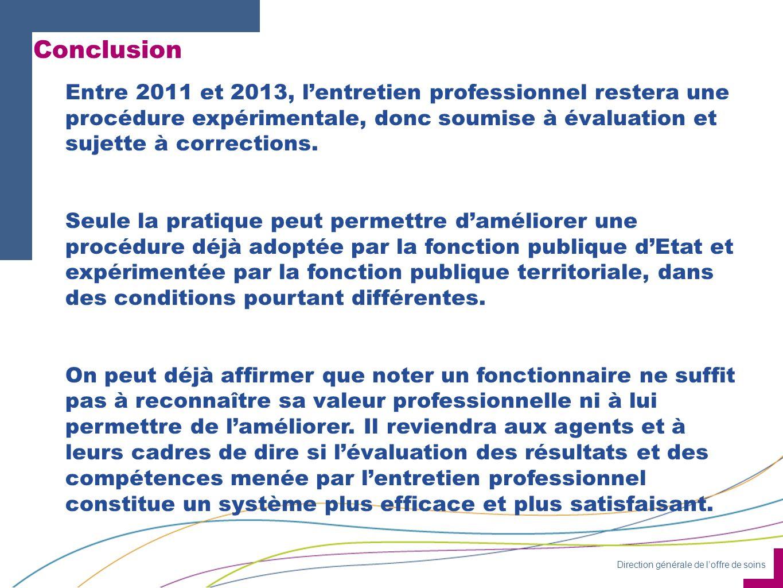 Direction générale de loffre de soins Conclusion Entre 2011 et 2013, lentretien professionnel restera une procédure expérimentale, donc soumise à évaluation et sujette à corrections.