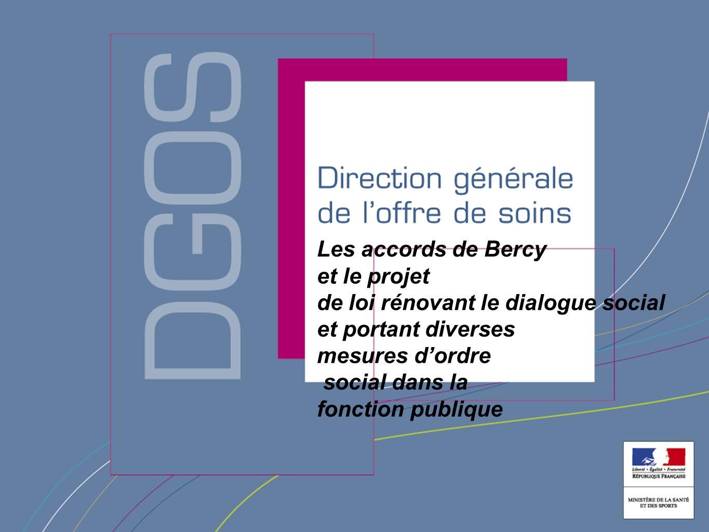 Direction générale de loffre de soin Les accords de Bercy et le projet de loi rénovant le dialogue social et portant diverses mesures dordre social dans la fonction publique