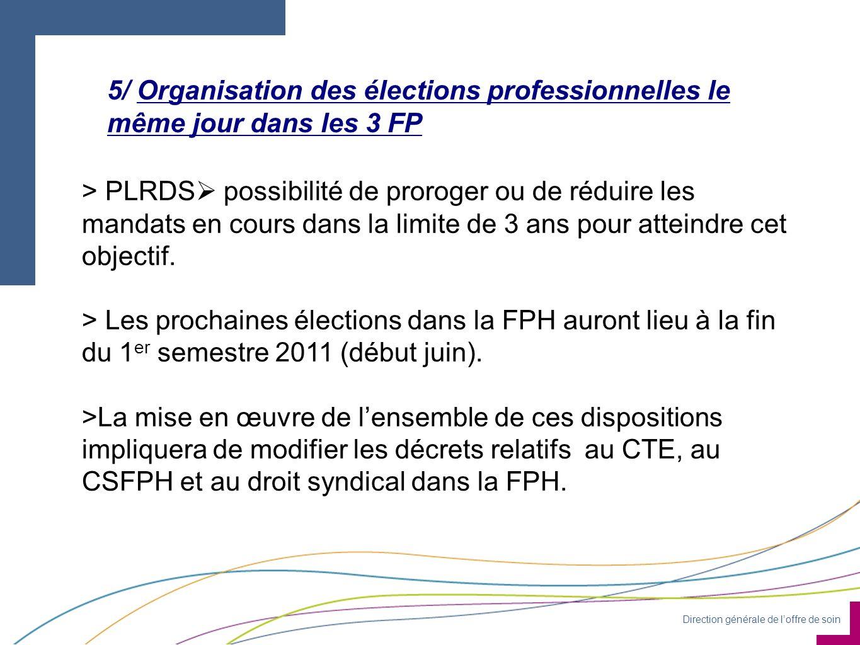 Direction générale de loffre de soin 5/ Organisation des élections professionnelles le même jour dans les 3 FP > PLRDS possibilité de proroger ou de réduire les mandats en cours dans la limite de 3 ans pour atteindre cet objectif.
