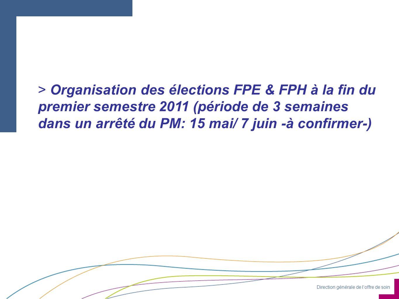 Direction générale de loffre de soin > Organisation des élections FPE & FPH à la fin du premier semestre 2011 (période de 3 semaines dans un arrêté du PM: 15 mai/ 7 juin -à confirmer-)