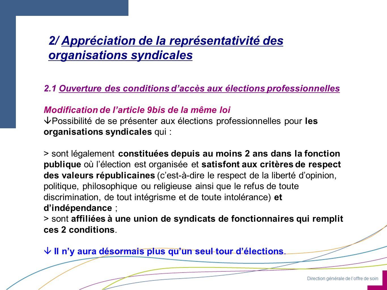 Direction générale de loffre de soin 2/ Appréciation de la représentativité des organisations syndicales 2.1 Ouverture des conditions daccès aux élect