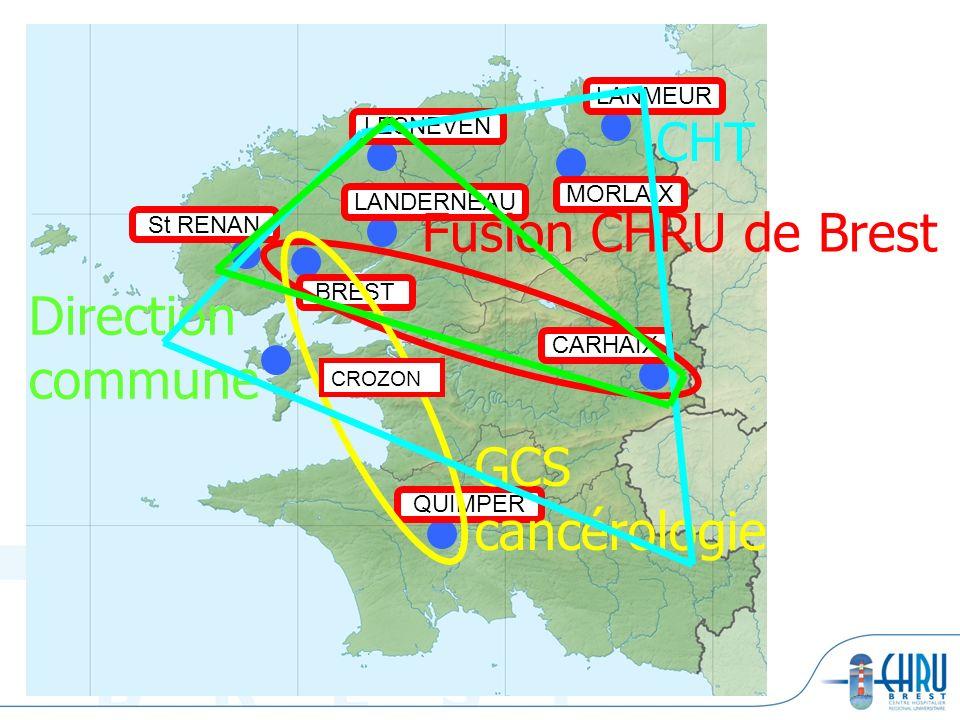 BREST LANDERNEAU LESNEVEN QUIMPER CARHAIX MORLAIX LANMEUR St RENAN Fusion CHRU de Brest Direction commune GCS cancérologie CHT CROZON