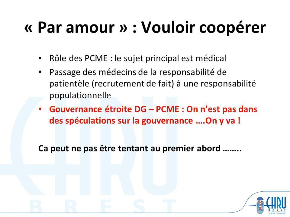 « Par amour » : Vouloir coopérer Rôle des PCME : le sujet principal est médical Passage des médecins de la responsabilité de patientèle (recrutement de fait) à une responsabilité populationnelle Gouvernance étroite DG – PCME : On nest pas dans des spéculations sur la gouvernance ….On y va .