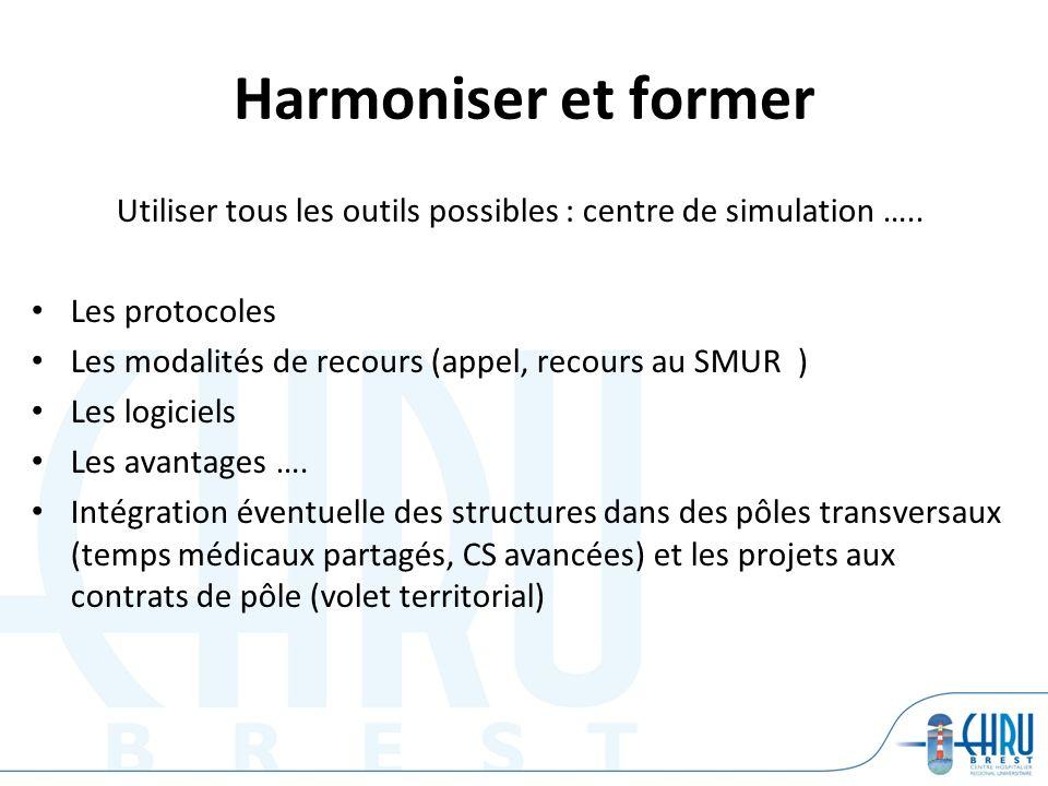 Harmoniser et former Utiliser tous les outils possibles : centre de simulation …..
